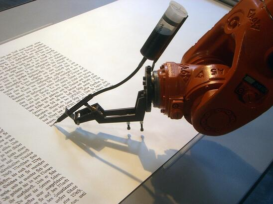 Not like this robot writing the bible, but its a great image